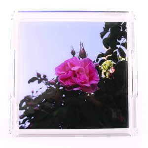 Pink Flower Acrylic Square Tray